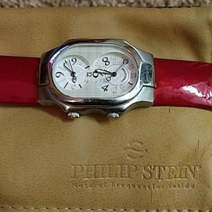 PHILIP STEIN WATCH WITH PATENT LEATHER RED BAND